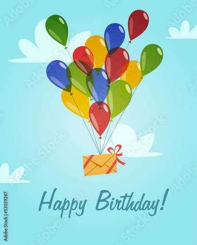 Retro vintage happy birthday card with balloons