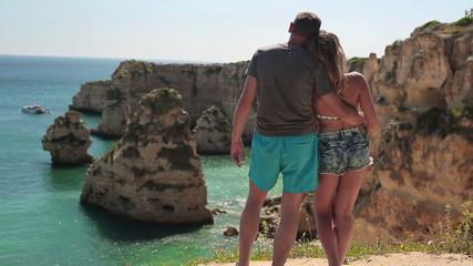 Couple in love looking at amazing beautiful exotic view