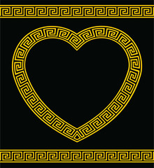 Greek Key Pattern Heart Shape Border