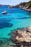 Fototapety Moored Yachts in Cala Fornells, Majorca