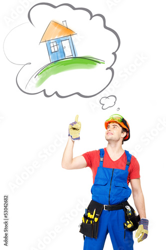 Worker with tools   points on house