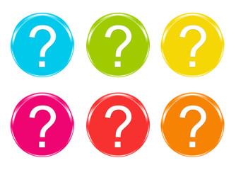 Iconos con símbolo de interrogación en varios colores