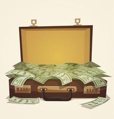 Open suitcase full of money, business illustration