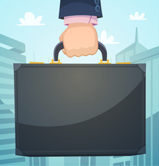 Briefcase in a hand, business illustration