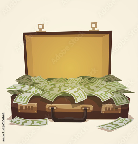 Open suitcase full of money, business illustration