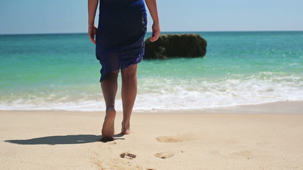 Beautiful sexy woman walking into the sea