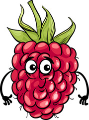 funny raspberry fruit cartoon illustration
