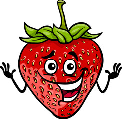 funny strawberry fruit cartoon illustration