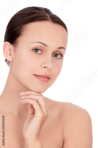 Beautiful young woman against the white background, copyspace