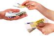 Put bills in open hand