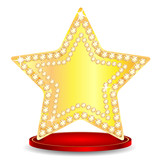 gold star on a podium on a white background