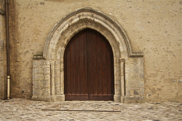 church , france , village , door