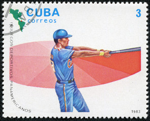 stamp printed in CUBA shows High Baseball