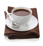 Hot chocolate in white cup on brawn table-napkin