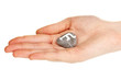 Fortune telling  with symbols on stone in hand isolated on