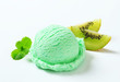 Scoop of light green ice cream