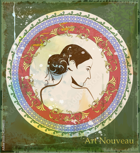 portrait of beautiful girl in art nouveau style