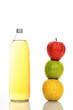 Apple juice in glass bottle
