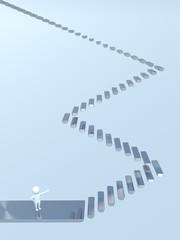 3D Man - Stairway - Sky