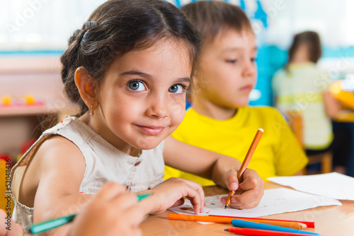 Group of cute little prescool kids drawing - 53048436