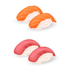 salmon and makuro sushi