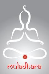 Symbolic yogi with Muladhara chakra representatio