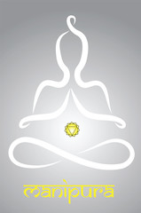Symbolic yogi with Manipura chakra representation
