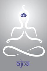 Symbolic yogi with Ajna chakra representation