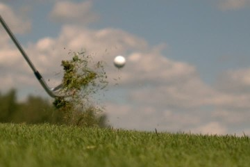Golf Super Slow Motion Grass lay-up Shot 10000 fps