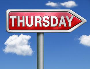 Thursday road sign arrow