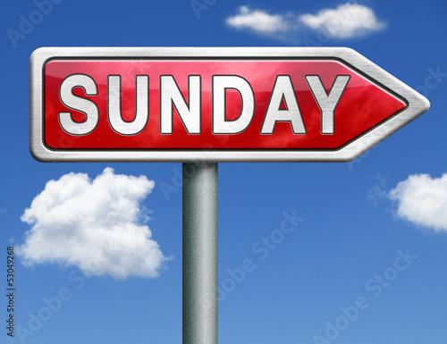 Sunday road sign arrow