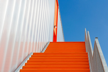 Down the orange emergency staircase