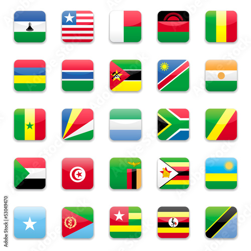 Africa flags round icon set