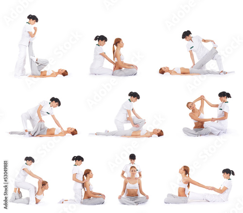 Set of many different images of the woman getting thai massage