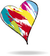 Love concept, heart with paint strokes, vector