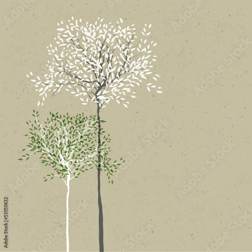 Trees background. The trunk and leaves in separate layers. Vecto