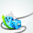 vector illustration of building around dice with arrow