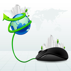 vector illustration of building around globe with mouse