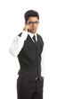 Indian young businessman talking in mobile phone
