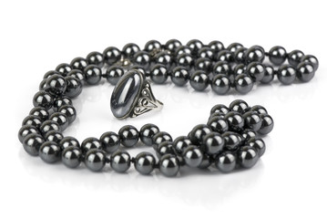 beads and a ring made of hematite