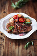 Grilled pork steaks with grilled vegetables