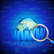 vector illustration of magnifying glass searching WWW on Earth