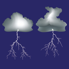 Isolated lightning and dark clouds