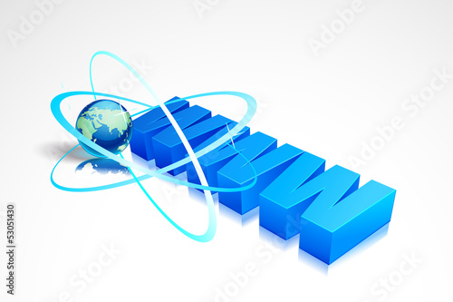 vector illustration of world wide web WWW with Earth