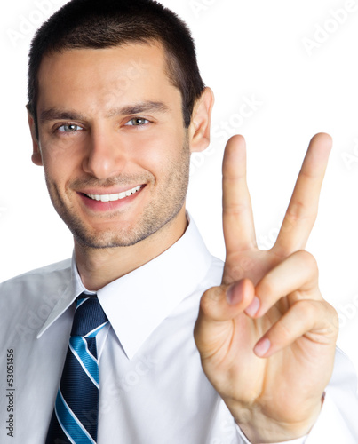 Happy businessman showing two fingers, isolated