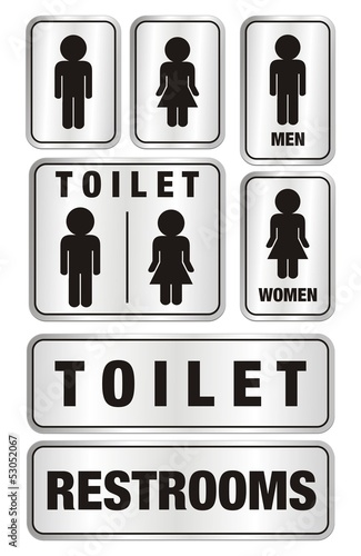 set of toilet signs - aluminium signs