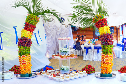 colorful fruit and cake decoration on banquet party