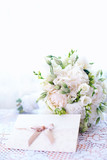 Fototapety delicate wedding bouquet with invitation card
