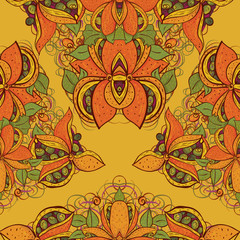 Seamless exotic flower pattern