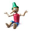 Pinocchio sitzend vor weiss - 53052839